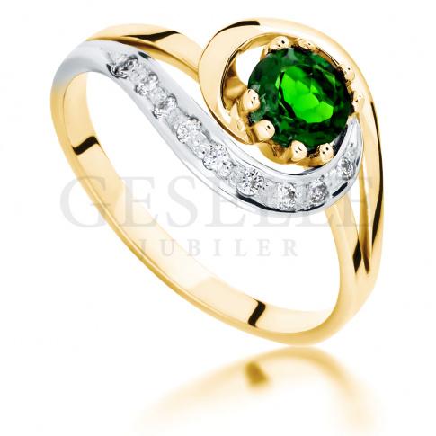 Złoty pierścionek zaręczynowy w stylu retro z szmaragdowozielonym diopsydem i brylantami 0.09 ct
