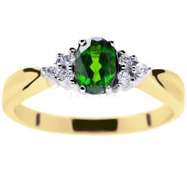 Niepowtarzalny pierścionek w stylu retro z owalnym, zielonym diopsydem i sześcioma brylantami 0,09 ct