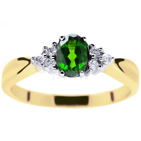 Bardzo dobryFantastyczny Niepowtarzalny pierścionek w stylu retro z owalnym, zielonym BE54
