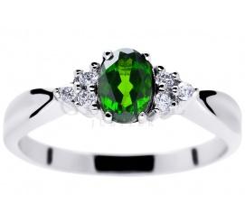 Pierścionek zaręczynowy w stylu retro z zielonym diopsydem i brylantami