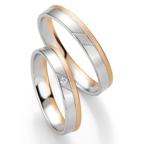 Nowoczesne obrączki ślubne Breuning z białego i różowego złota z wiecznym brylantem