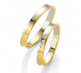 Komplet dwukolorowych obrączek z białego i żółtego złota z wysuniętą krawędzią i trio brylantów