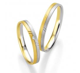 Dwukolorowa para obrączek ślubnych z aratowego złota z lśniącym brylantem - kolekcja BASIC LIGHT Breuning