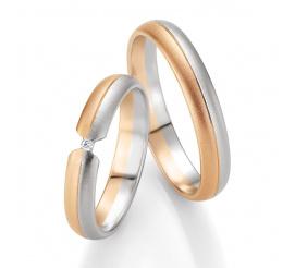 Obrączki ślubne BASIC LIGHT z kolekcji Breuning wykonane z dwukolorowego złota w technologii bezszwowej