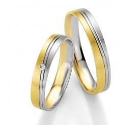 Kolekcja BASIC LIGHT - obrączki Breuning z białego i żółtego złota z brylantowym oczkiem 0,02 ct