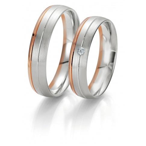 Elegancki komplet dwukolorowych obrączek ślubnych z kolekcji Rainbow z brylantem