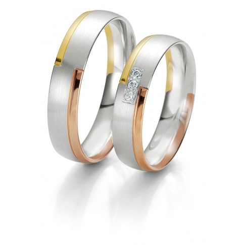Pełen blasku komplet złotych obrączek ślubnych z brylantem z kolekcji Rainbow