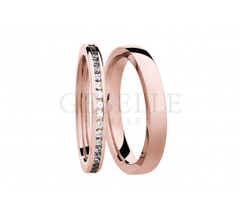Luksusowy komplet obrączek ślubnych z różowego złota próby 585 z rzędem lśniących brylantów