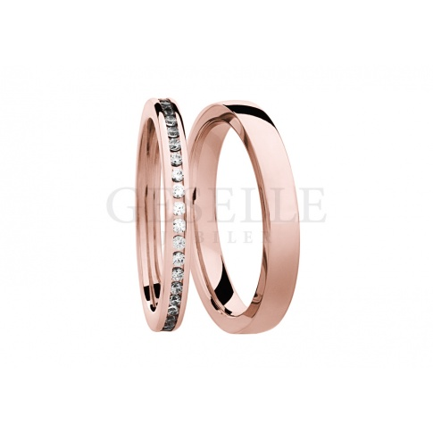 Luksusowy komplet obrączek ślubnych z różowego złota z rzędem lśniących brylantów