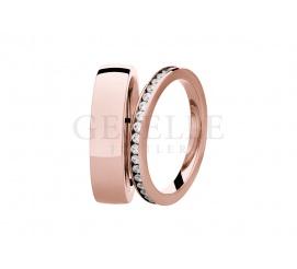 Niezwykle modne obrączki ślubne z różowego złota z kolekcji ESSENCE - brylanty dla niej, klasyka dla niego