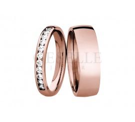Modna para złotych obrączek ślubnych w niepowtrzalnym stylu - różowy kruszec, wieczne brylanty i najwyższa jakość