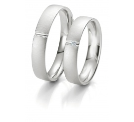 Para obrączek ślubnych Breuning z białego, 8-karatowego złota z brylantem