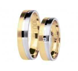 Dwukolorowa para obrączek ślubnych z cyrkoniami Swarovski Elements