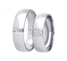 Solidny komplet obrączek ślubnych True Love - białe złoto i sześć lśniących cyrkonii - możliwość oprawienia brylantów