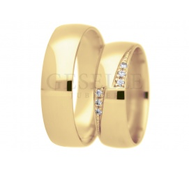 Złoty komplet obrączek ślubnych z cyrkoniami Swarovski ELEMENTS w dwóch nacięciach