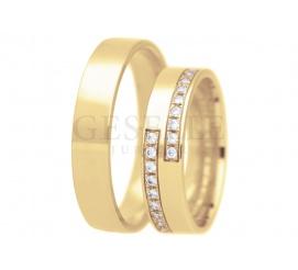 Złoty komplet obrączek ślubnych z kolekcji True Love z 18 cyrkoniami Swarovskiego - możliwość oprawienia brylantów