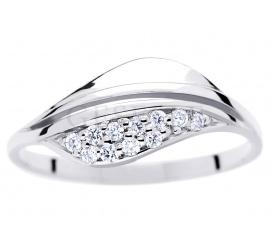 Pełen elegancji pierścionek na zaręczyny - białe złoto pr. 585 i jedenaście brylantów