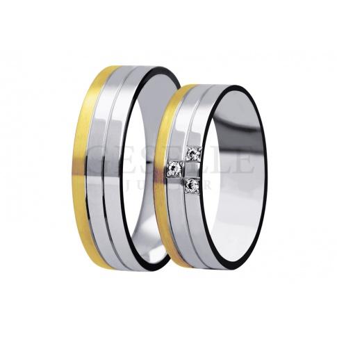 Niezwykle modny model obrączek ślubnych z dwukolorowego złota z kolekcji True Love - cyrkonie Swarovski ELEMENTS lub brylanty