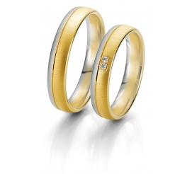 Para obrączek ślubnych Breuning z kolekcji Rainbow - białe i żółte złoto, lśniący duet brylantów