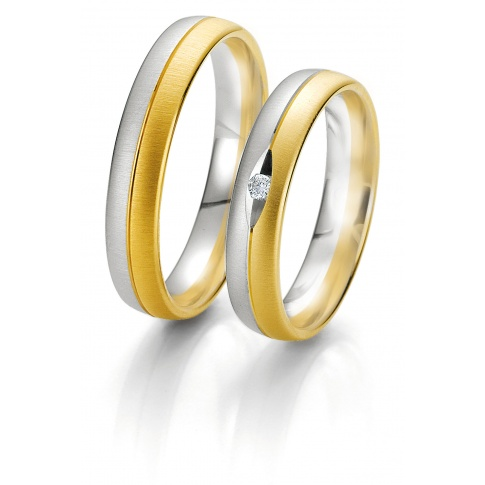 Obrączki ślubne z dwóch kolorów złota z wiecznym brylantem - kolekcja Rainbow