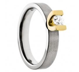 Wyjątkowy pierścionek zaręczynowy z lśniącego tytanu i żółtego złota z cyrkonią Swarovski ELEMENTS