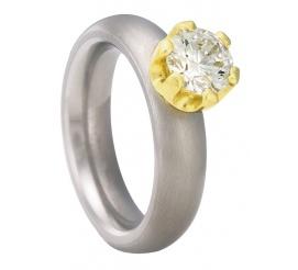 Unikatowy pierścionek z tytanu i żółtego złota 18K
