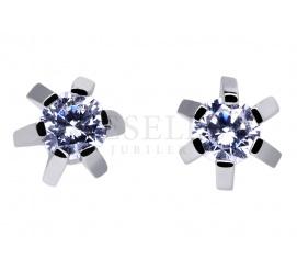 Elegancka para kolczyków w kształcie gwiazdek zapinanych na sztyft - cyrkonie