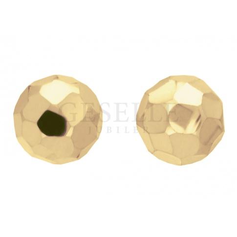 Unikatowe kolczyki z żółtego złota w kształcie kulek o fasetowanej powierzchni