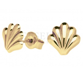 Delikatne kolczyki z żółtego złota w kształcie muszelek - zapięcie na sztyft