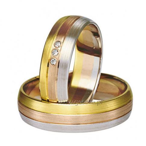 Solidne, trójkolorowe obrączki z białego, żółtego i czerwonego złota z trzema cyrkoniami Swarovski ELEMENTS