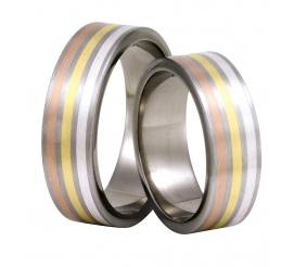 Masywne obrączki ślubne z tytanu z trzema liniami - srebro, białe i czerwone złoto