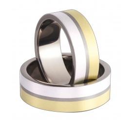 Komplet obrączek ślubnych z tytanu z dwoma paskami ze złota i srebra