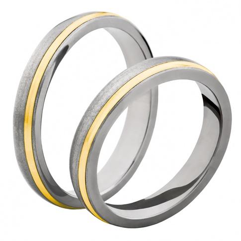 Wąski komplet obrączek z dwóch rodzajów kruszcu - tytanu i żółtego złota