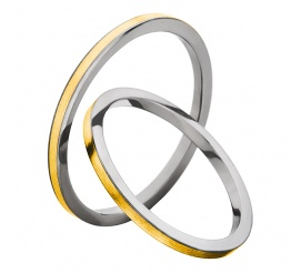 Wąskie obrączki ślubne w amerykańskim stylu - tytan i żółte złoto