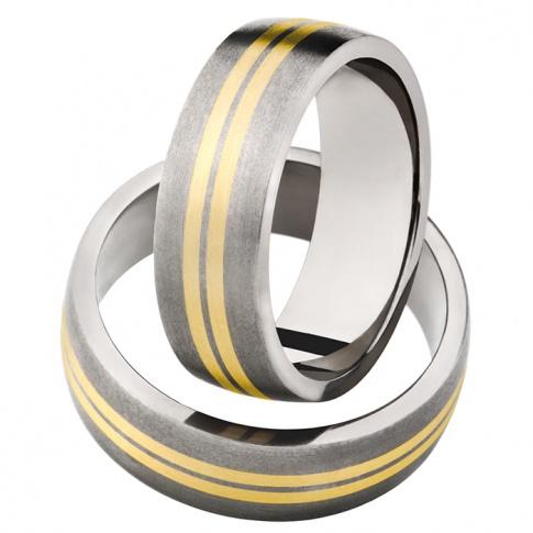 Tytanowy komplet obrączek ślubnych w minimalistycznym stylu z dwoma liniami z żółtego kruszcu