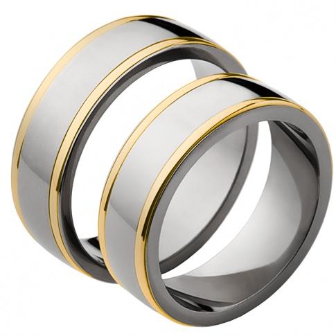 Szeroki komplet obrączek ślubnych dwukolorowych - srebrzysty tytan i klasyczne, żółte złoto