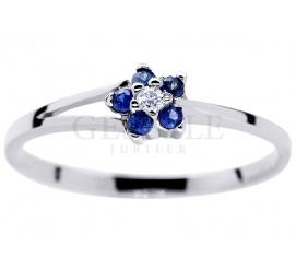 Urzekający pierścionek zaręczynowy z białego złota w kształcie kwiatu - szafiry cejlońskie i brylant 0,02 ct