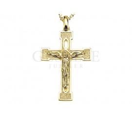 Duży, masywny krzyżyk z Jezusem ukrzyżowanym z żółtego złota próby 585 - klasyczny wzór
