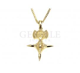 Oryginalny, fantazyjny krzyż celtycki z żółtego, klasycznego złota próby 585