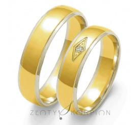 Romantyczne obrączki ślubne z dwukolorowego złota próby 585 z ozdobną cyrkonią Swarovski Elements lub brylantem, szerokość 5 mm