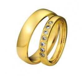 Nowoczesny komplet obrączek z klasycznego złota 14K z siedmioma kamieniami
