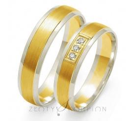 Delikatny komplet obrączek ślubnych z białego i żółtego złota z rzędem lśniących cyrkonii
