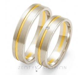 Stylowa para obrączek ślubnych z żółtego i białego złota próby 585 z cyrkonią Swarovski Elements lub brylantem - szerokość 5mm