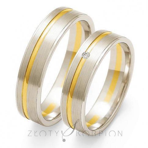 Stylowa para obrączek ślubnych z żółtego i białego złota z cyrkonią Swarovski Elements lub brylantem - szerokość 5mm