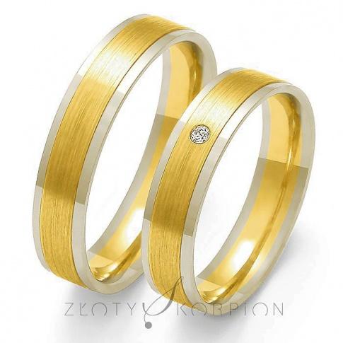 Tradycyjne obrączki ślubne z dwukolorowego złota ozdobione efektownym matem, oraz cyrkonią Swarovski Elements lub brylantem - szerokość 5mm