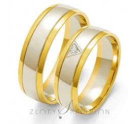 Tradycyjny komplet obrączek ślubnych z dwukolorowego złota z cyrkonią Swarovski Elements lub brylantem w trójkątnej oprawie - szerokość 6 mm