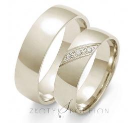 Popularna para półokrągłych obrączek ślubnych z białego złota ozdobiona cyrkoniami Swarovski Elements lub brylantami - szerokość 6 mm