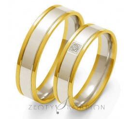 Stylowy komplet obrączek ślubnych z dwukolorowego złota próby 585 z ozdobną cyrkonią Swarovski Elements lub brylantem - szerokość 5 mm