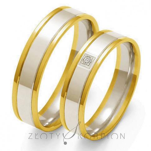 Stylowy komplet obrączek ślubnych z dwukolorowego złota z ozdobną cyrkonią Swarovski Elements lub brylantem - szerokość 5 mm