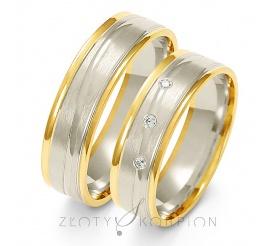 Popularna para obrączek ślubnych z dwukolorowego złota z ozdobnymi żłobieniami z cyrkoniami Swarovski Elements lub brylantami - szerokość 6 mm